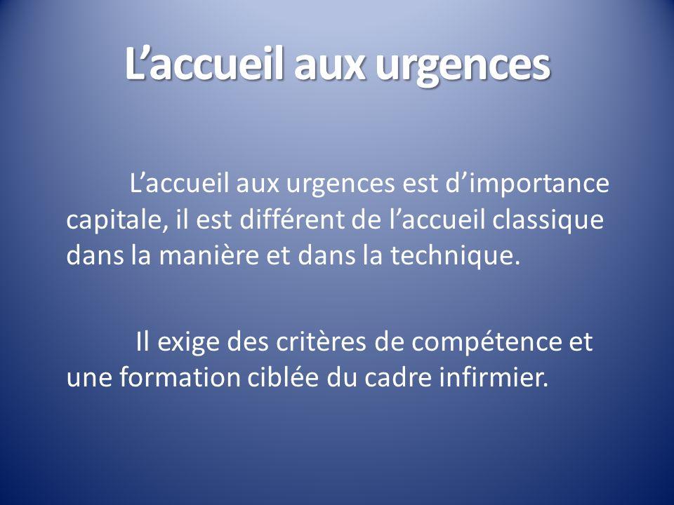 Laccueil aux urgences Laccueil aux urgences est dimportance capitale, il est différent de laccueil classique dans la manière et dans la technique. Il