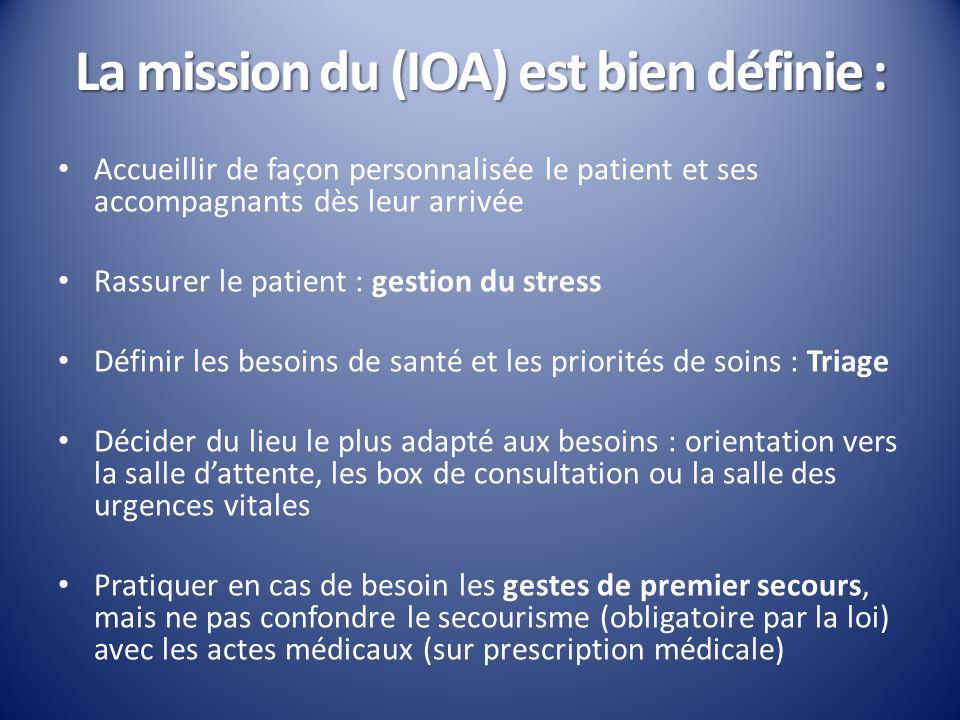 La mission du (IOA) est bien définie : Accueillir de façon personnalisée le patient et ses accompagnants dès leur arrivée Rassurer le patient : gestio