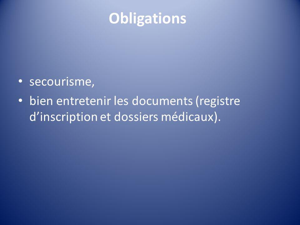 Obligations secourisme, bien entretenir les documents (registre dinscription et dossiers médicaux).