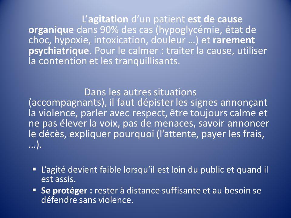 Lagitation dun patient est de cause organique dans 90% des cas (hypoglycémie, état de choc, hypoxie, intoxication, douleur …) et rarement psychiatriqu