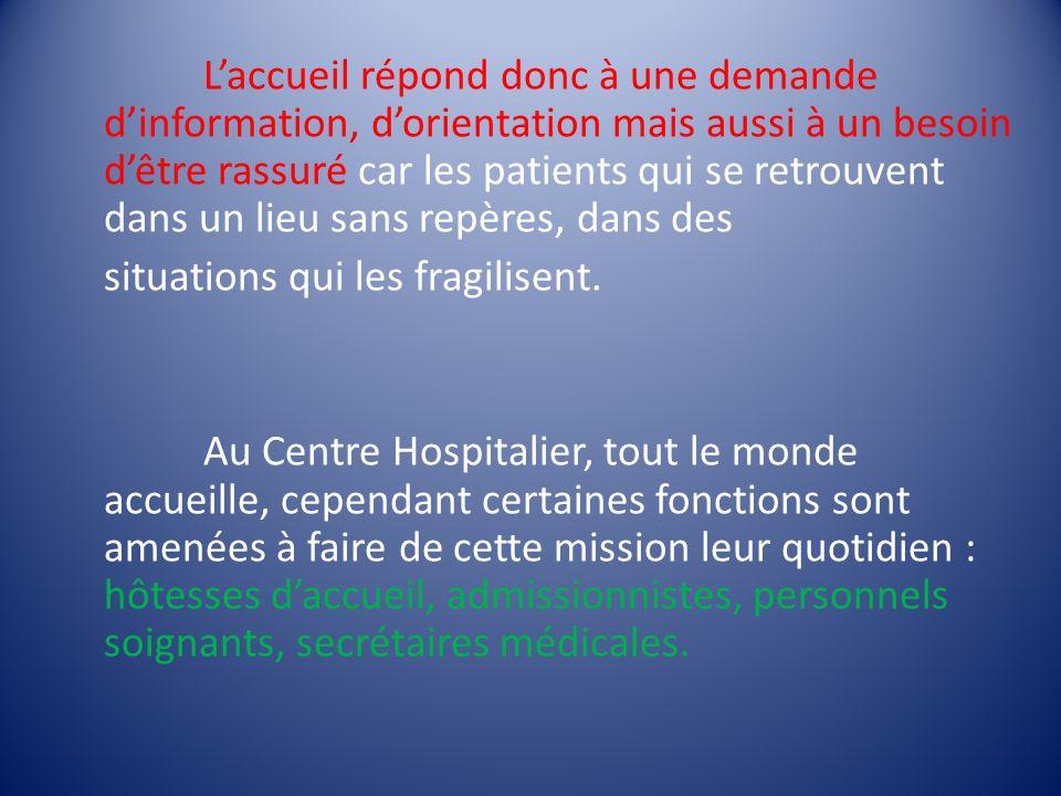 Laccueil répond donc à une demande dinformation, dorientation mais aussi à un besoin dêtre rassuré car les patients qui se retrouvent dans un lieu san