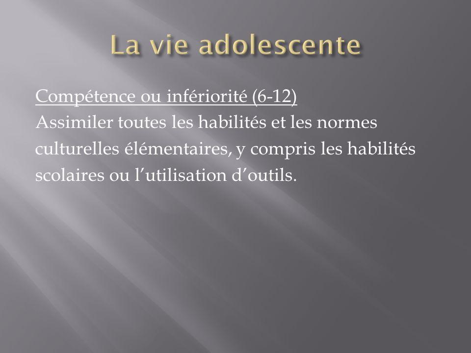 Compétence ou infériorité (6-12) Assimiler toutes les habilités et les normes culturelles élémentaires, y compris les habilités scolaires ou lutilisat
