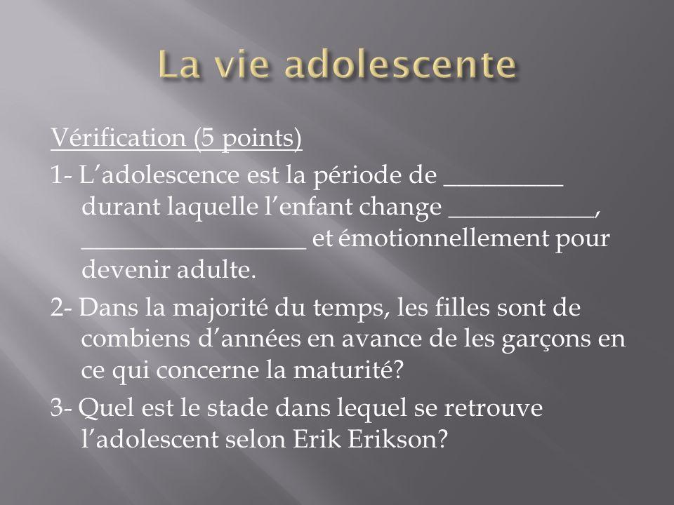 Vérification (5 points) 1- Ladolescence est la période de _________ durant laquelle lenfant change ___________, _________________ et émotionnellement