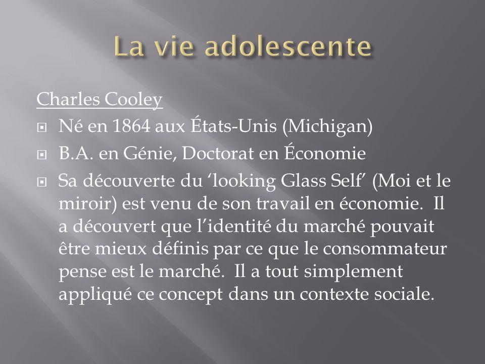 Charles Cooley Né en 1864 aux États-Unis (Michigan) B.A. en Génie, Doctorat en Économie Sa découverte du looking Glass Self (Moi et le miroir) est ven