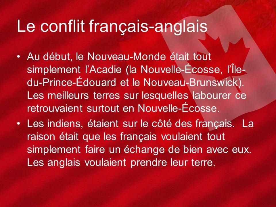 Le conflit français-anglais Au début, le Nouveau-Monde était tout simplement lAcadie (la Nouvelle-Écosse, lÎle- du-Prince-Édouard et le Nouveau-Brunsw