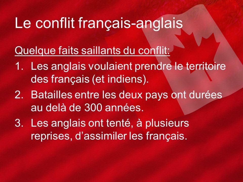 Le conflit français-anglais Quelque faits saillants du conflit: 1.Les anglais voulaient prendre le territoire des français (et indiens). 2.Batailles e