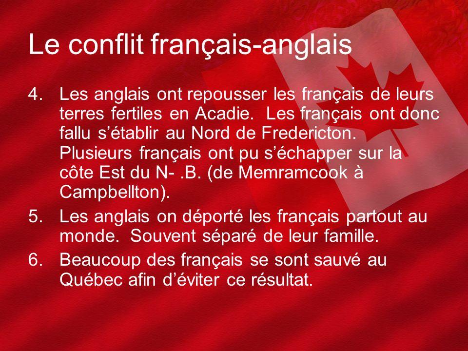 Le conflit français-anglais 4.Les anglais ont repousser les français de leurs terres fertiles en Acadie. Les français ont donc fallu sétablir au Nord