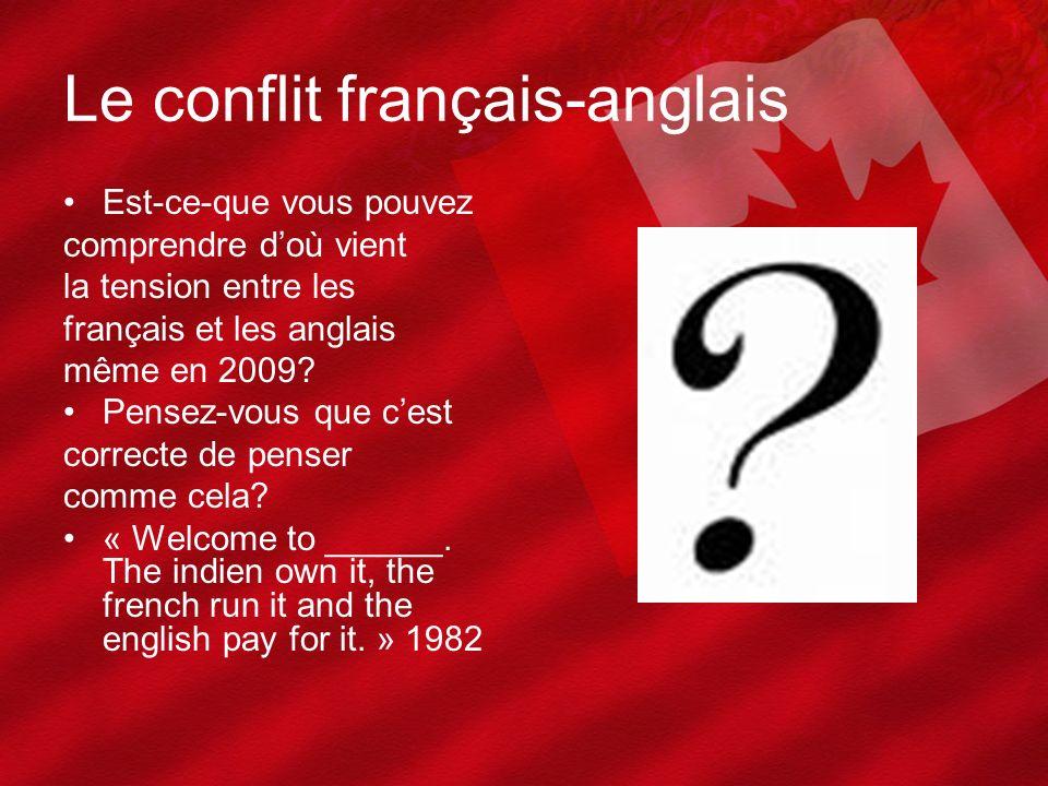 Le conflit français-anglais Est-ce-que vous pouvez comprendre doù vient la tension entre les français et les anglais même en 2009? Pensez-vous que ces