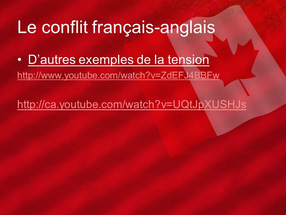 Le conflit français-anglais Dautres exemples de la tension http://www.youtube.com/watch?v=ZdEFJ4BBFw http://ca.youtube.com/watch?v=UQtJpXUSHJs