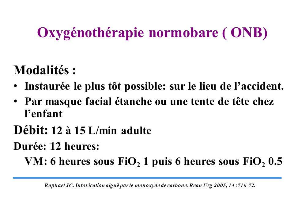 Oxygénothérapie normobare ( ONB) Modalités : Instaurée le plus tôt possible: sur le lieu de laccident. Par masque facial étanche ou une tente de tête