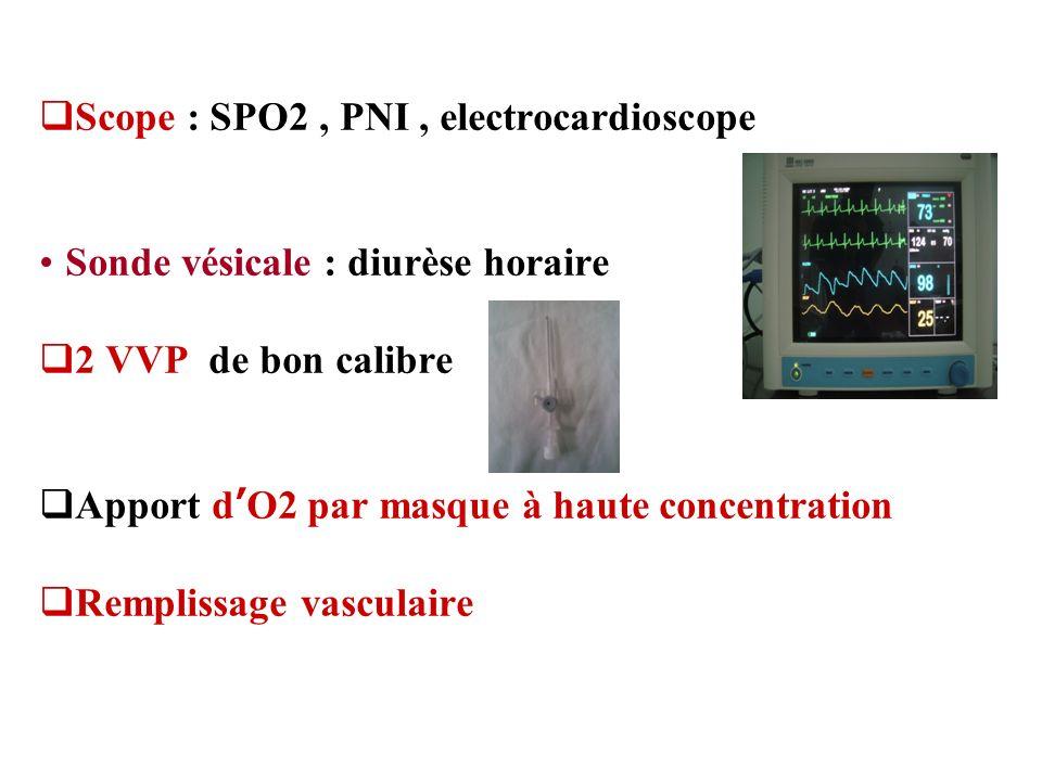 Scope : SPO2, PNI, electrocardioscope Sonde vésicale : diurèse horaire 2 VVP de bon calibre Apport dO2 par masque à haute concentration Remplissage va