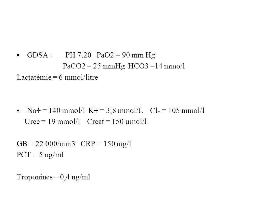 GDSA : PH 7,20 PaO2 = 90 mm Hg PaCO2 = 25 mmHg HCO3 =14 mmo/l Lactatémie = 6 mmol/litre Na+ = 140 mmol/l K+ = 3,8 mmol/L Cl- = 105 mmol/l Ureé = 19 mm