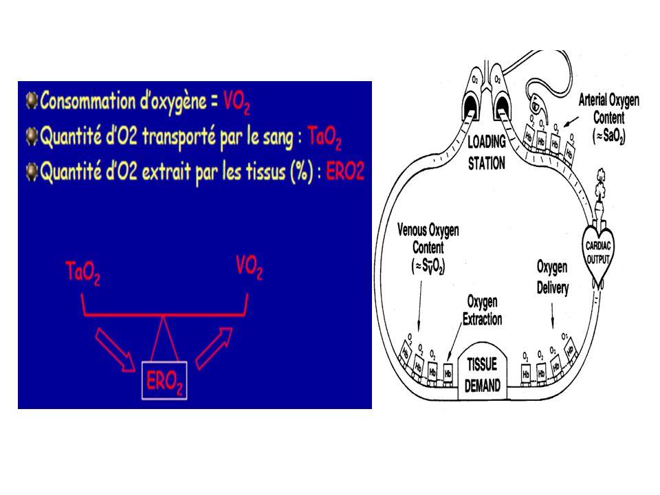 TaO2 = IC x 10 x CaO2 = 600 ml/min/m2 VO2 = (Ca02-CvO2) x IC x 10 = 150 ml/min/m2 E02 = VO2/TaO2 = 25 % Ca02 = Sa02 x Hb x 1,34 + PaO2 x 0,003 = 20 ml / 100 ml sang Cv02 = Sv02 x Hb x 1,34 + PvO2 x 0,003 = 15 ml / 100 ml sang DC = VES x FC Index cardiaque (IC) = DC /Surface corporelle = 3,5 ± 0,5 l/min/m2