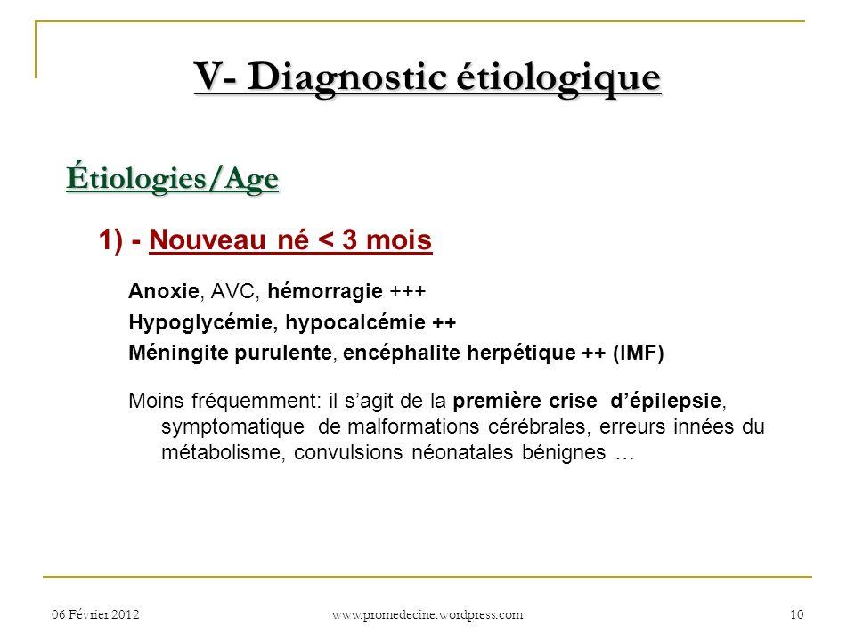 06 Février 201210 Étiologies/Age 1) - Nouveau né < 3 mois Anoxie, AVC, hémorragie +++ Hypoglycémie, hypocalcémie ++ Méningite purulente, encéphalite h