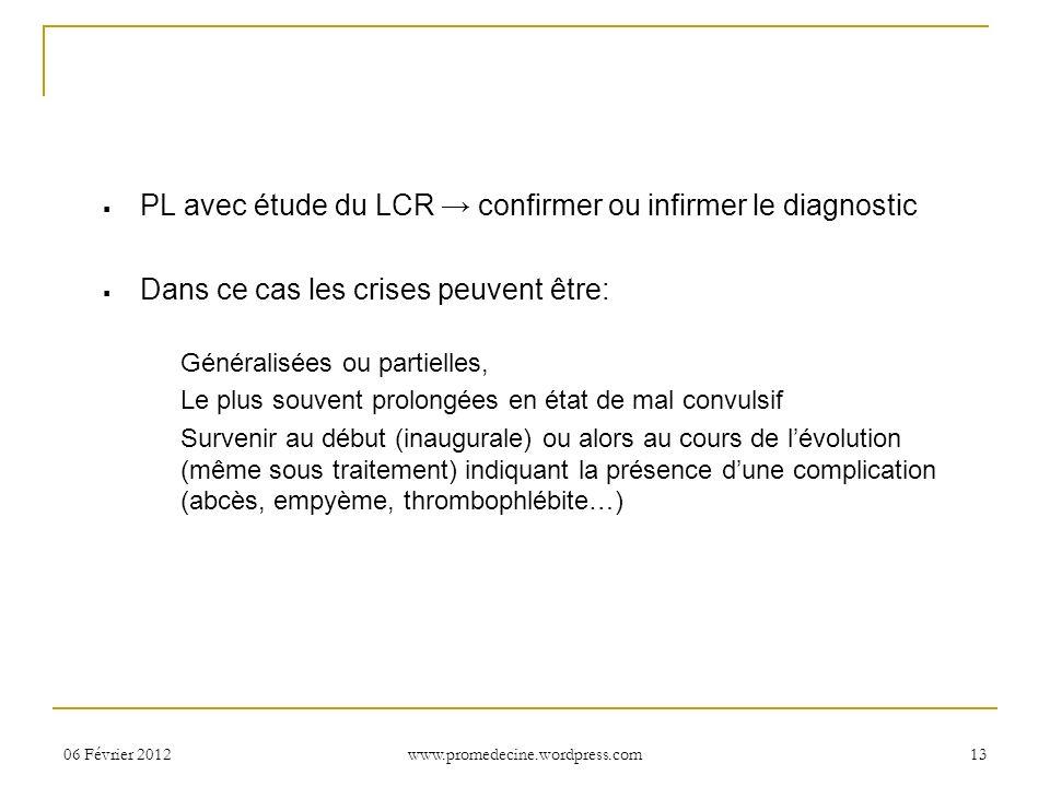 PL avec étude du LCR confirmer ou infirmer le diagnostic Dans ce cas les crises peuvent être: Généralisées ou partielles, Le plus souvent prolongées e