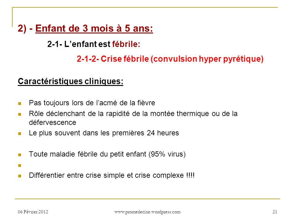 06 Février 201221 2) - Enfant de 3 mois à 5 ans: 2-1- Lenfant est fébrile: 2-1-2- Crise fébrile (convulsion hyper pyrétique) Caractéristiques clinique