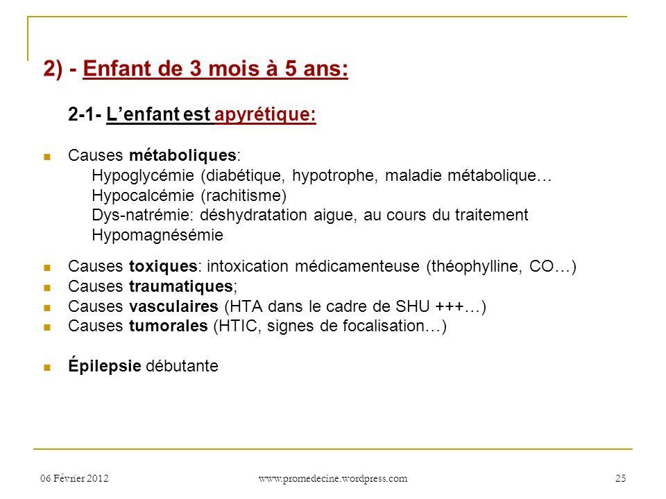 06 Février 201225 2) - Enfant de 3 mois à 5 ans: 2-1- Lenfant est apyrétique: Causes métaboliques: Hypoglycémie (diabétique, hypotrophe, maladie métab