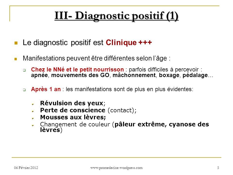 06 Février 20125 III- Diagnostic positif (1) Le diagnostic positif est Clinique +++ Manifestations peuvent être différentes selon lâge : Chez le NNé e
