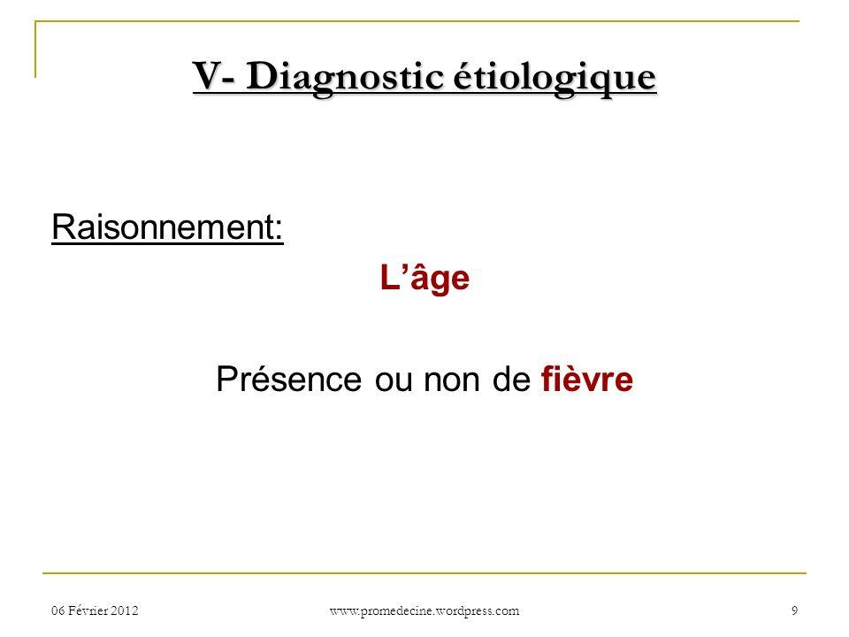 06 Février 20129 V- Diagnostic étiologique Raisonnement: Lâge Présence ou non de fièvre www.promedecine.wordpress.com