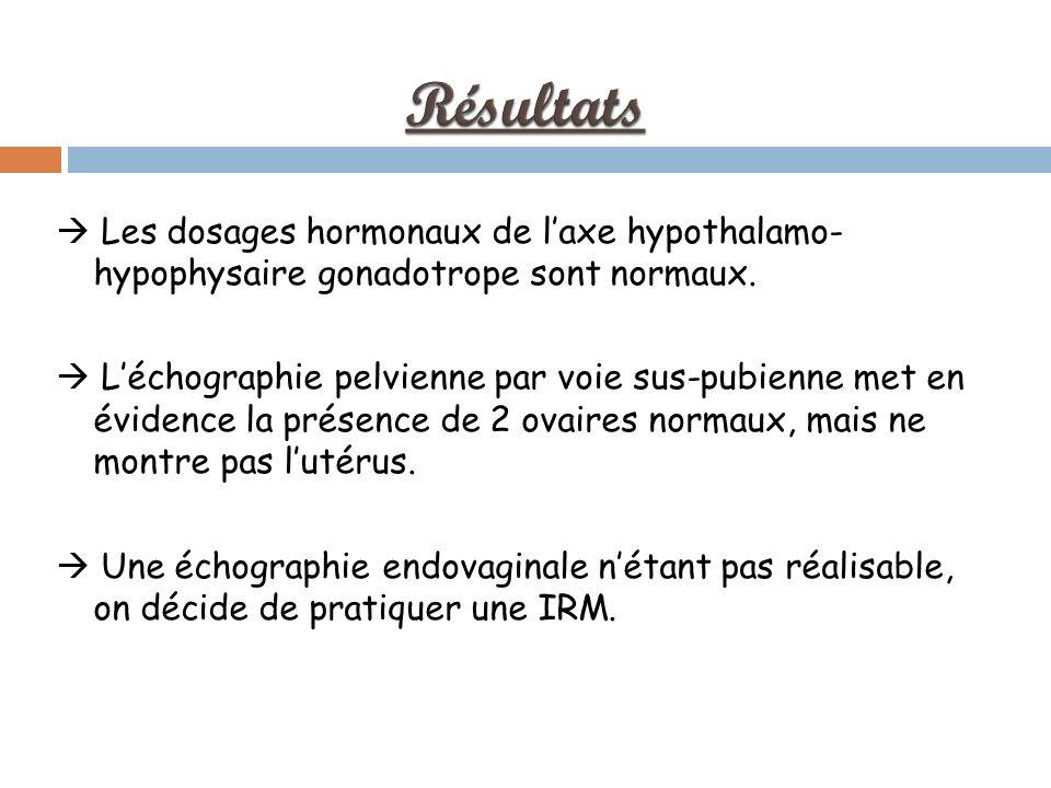 Les dosages hormonaux de laxe hypothalamo- hypophysaire gonadotrope sont normaux.