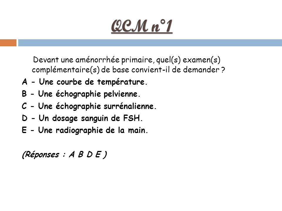 Devant une aménorrhée primaire, quel(s) examen(s) complémentaire(s) de base convient-il de demander .
