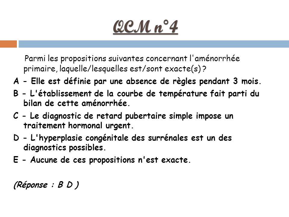 Parmi les propositions suivantes concernant l aménorrhée primaire, laquelle/lesquelles est/sont exacte(s) .