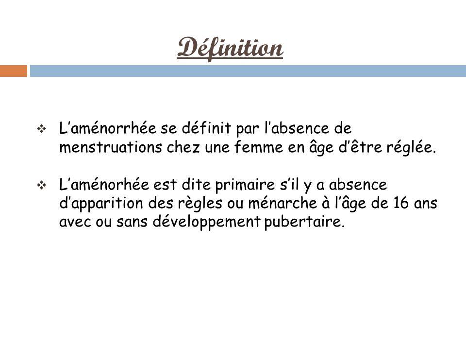 Définition Laménorrhée se définit par labsence de menstruations chez une femme en âge dêtre réglée.