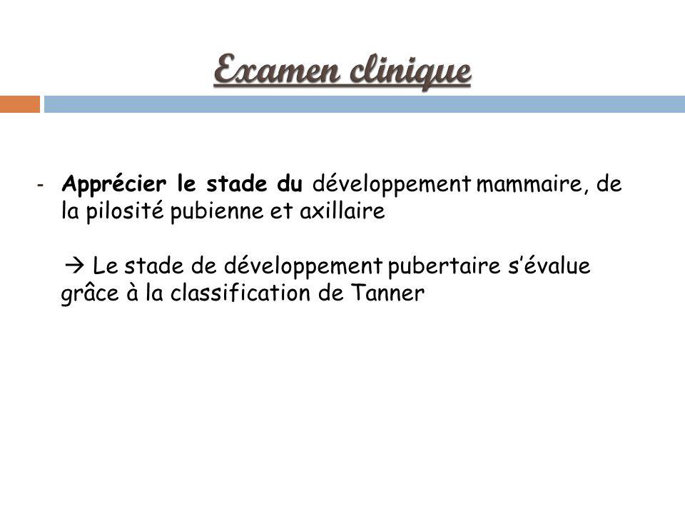 - Apprécier le stade du développement mammaire, de la pilosité pubienne et axillaire Le stade de développement pubertaire sévalue grâce à la classification de Tanner