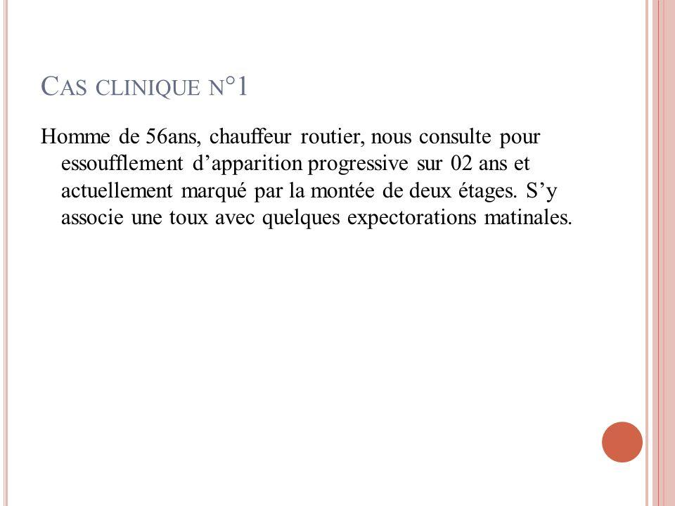 Dans notre cas: Dyspnée chronique; installation progressive ;stade I de SADOUL; associée à une fatigue et à une anxiété.