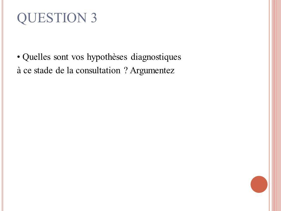 QUESTION 3 Quelles sont vos hypothèses diagnostiques à ce stade de la consultation ? Argumentez