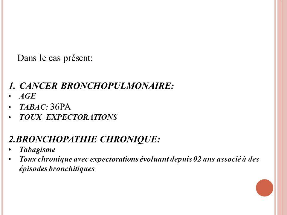 Dans le cas présent: 1.CANCER BRONCHOPULMONAIRE: AGE TABAC: 36PA TOUX+EXPECTORATIONS 2.BRONCHOPATHIE CHRONIQUE: Tabagisme Toux chronique avec expector
