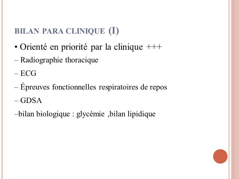 BILAN PARA CLINIQUE (I) Orienté en priorité par la clinique +++ – Radiographie thoracique – ECG – Épreuves fonctionnelles respiratoires de repos – GDS