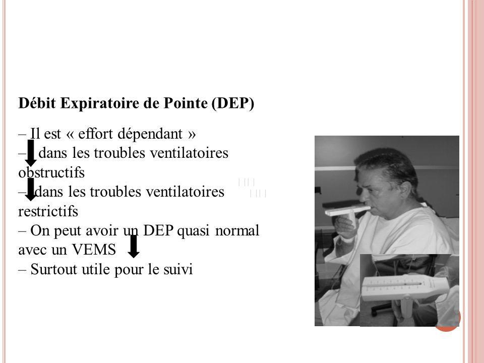 Débit Expiratoire de Pointe (DEP) – Il est « effort dépendant » – dans les troubles ventilatoires obstructifs – dans les troubles ventilatoires restri