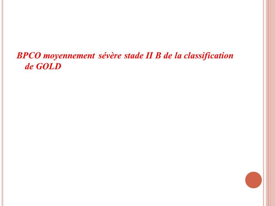BPCO moyennement sévère stade II B de la classification de GOLD