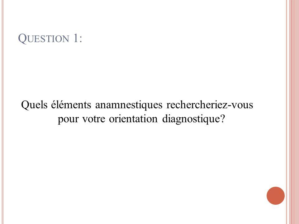 Q UESTION 1: Quels éléments anamnestiques rechercheriez-vous pour votre orientation diagnostique?