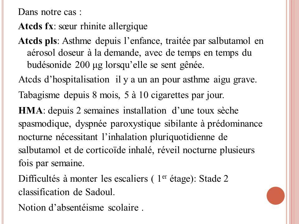 Dans notre cas : Atcds fx: sœur rhinite allergique Atcds pls: Asthme depuis lenfance, traitée par salbutamol en aérosol doseur à la demande, avec de t