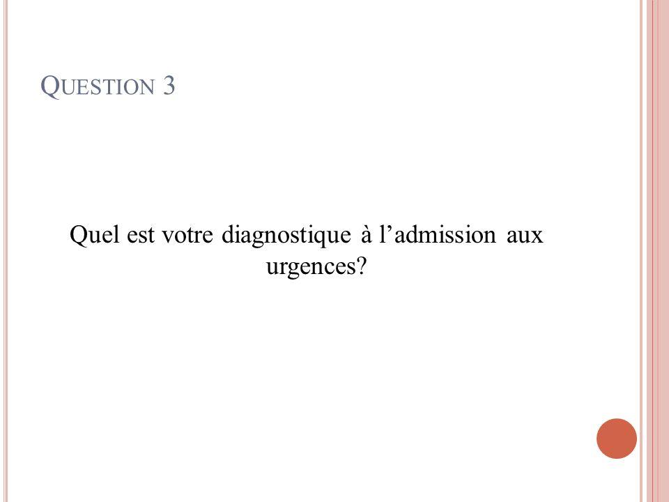 Q UESTION 3 Quel est votre diagnostique à ladmission aux urgences?