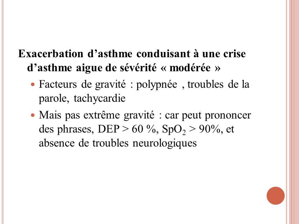 Exacerbation dasthme conduisant à une crise dasthme aigue de sévérité « modérée » Facteurs de gravité : polypnée, troubles de la parole, tachycardie M