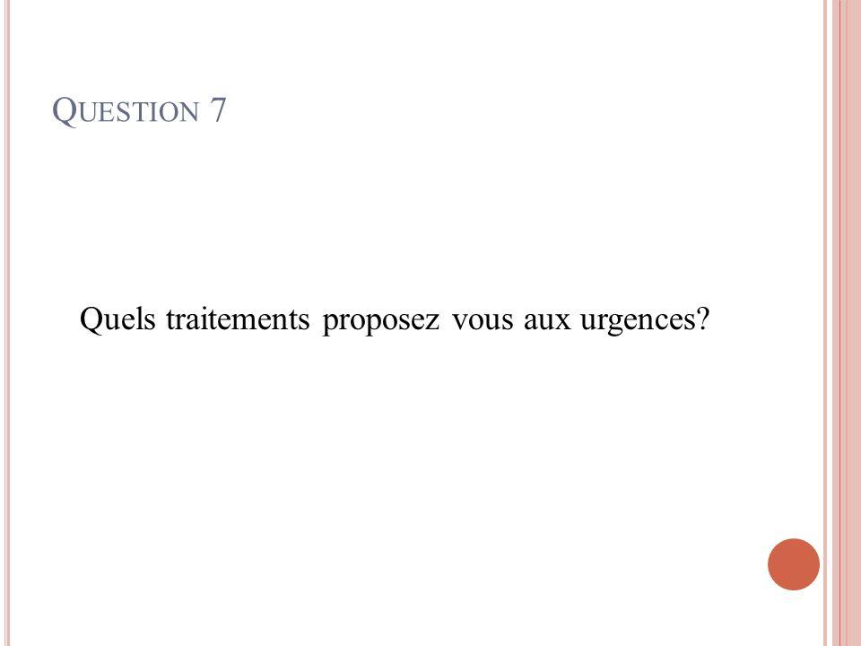 Q UESTION 7 Quels traitements proposez vous aux urgences?