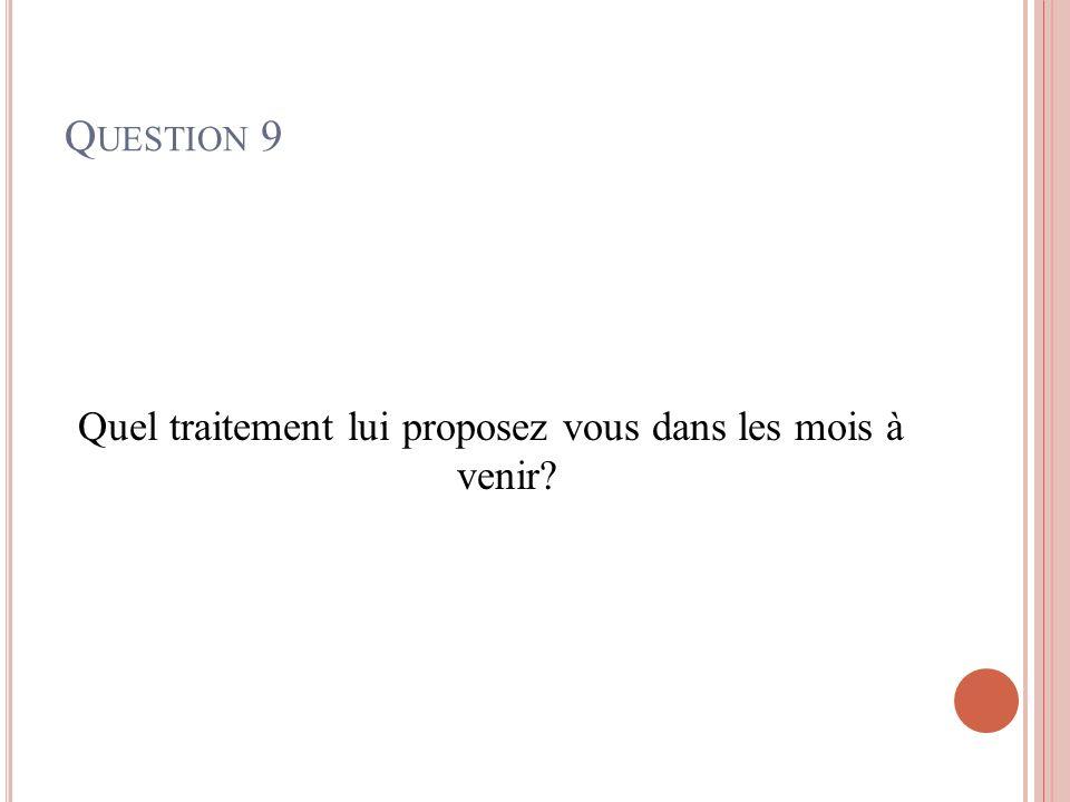 Q UESTION 9 Quel traitement lui proposez vous dans les mois à venir?