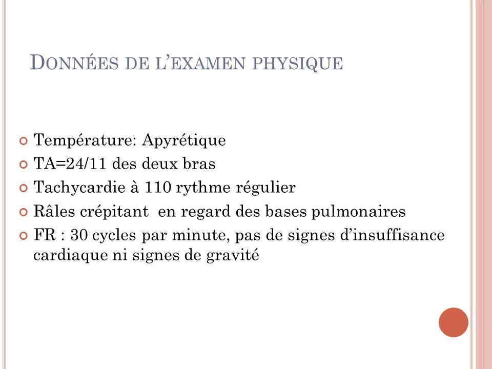 D ONNÉES DE L EXAMEN PHYSIQUE Température: Apyrétique TA=24/11 des deux bras Tachycardie à 110 rythme régulier Râles crépitant en regard des bases pul