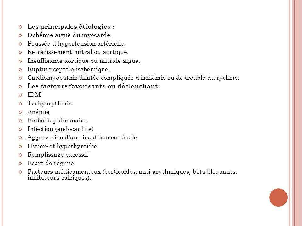 Les principales étiologies : Ischémie aiguë du myocarde, Poussée d'hypertension artérielle, Rétrécissement mitral ou aortique, Insuffisance aortique o