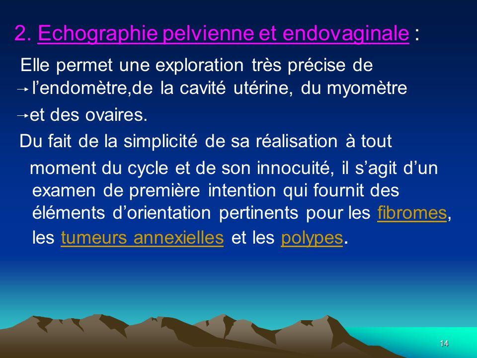 14 2. Echographie pelvienne et endovaginale : Elle permet une exploration très précise de lendomètre,de la cavité utérine, du myomètre et des ovaires.