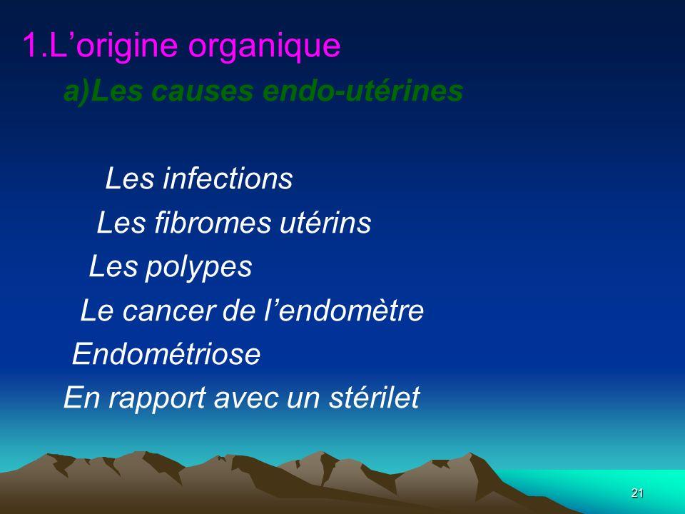 21 1.Lorigine organique a)Les causes endo-utérines Les infections Les fibromes utérins Les polypes Le cancer de lendomètre Endométriose En rapport ave