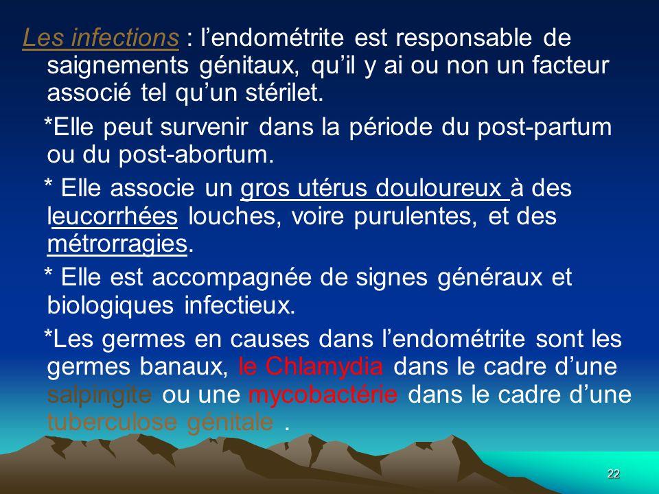 22 Les infections : lendométrite est responsable de saignements génitaux, quil y ai ou non un facteur associé tel quun stérilet. *Elle peut survenir d