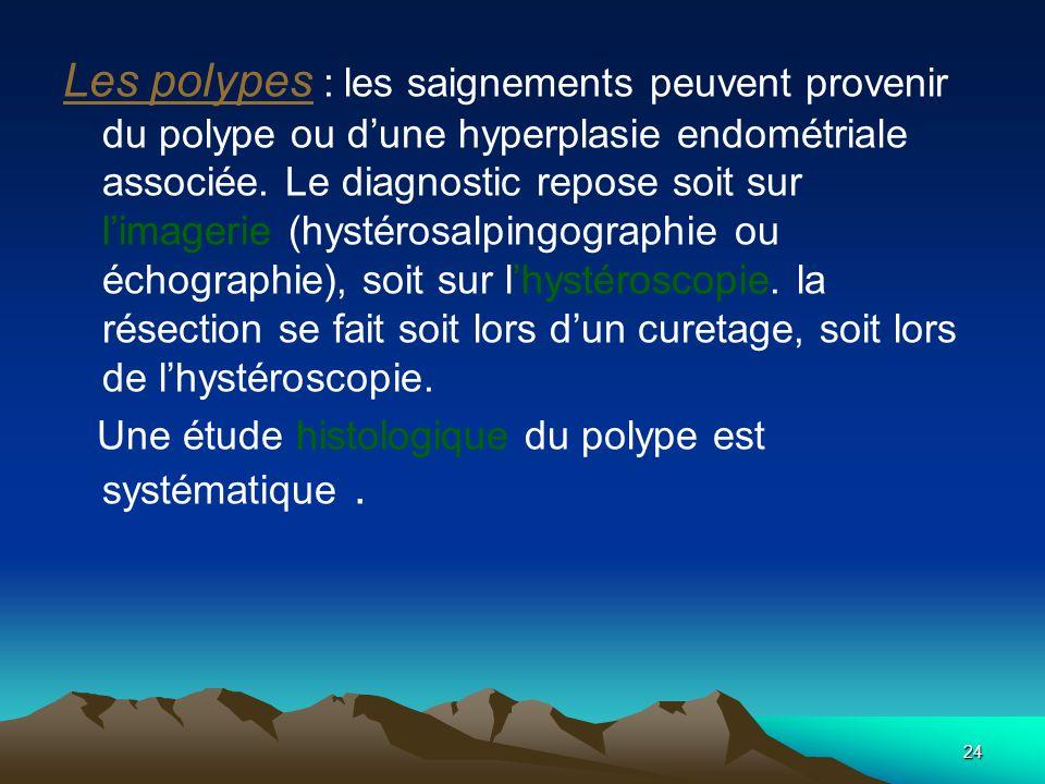 24 Les polypes : les saignements peuvent provenir du polype ou dune hyperplasie endométriale associée. Le diagnostic repose soit sur limagerie (hystér