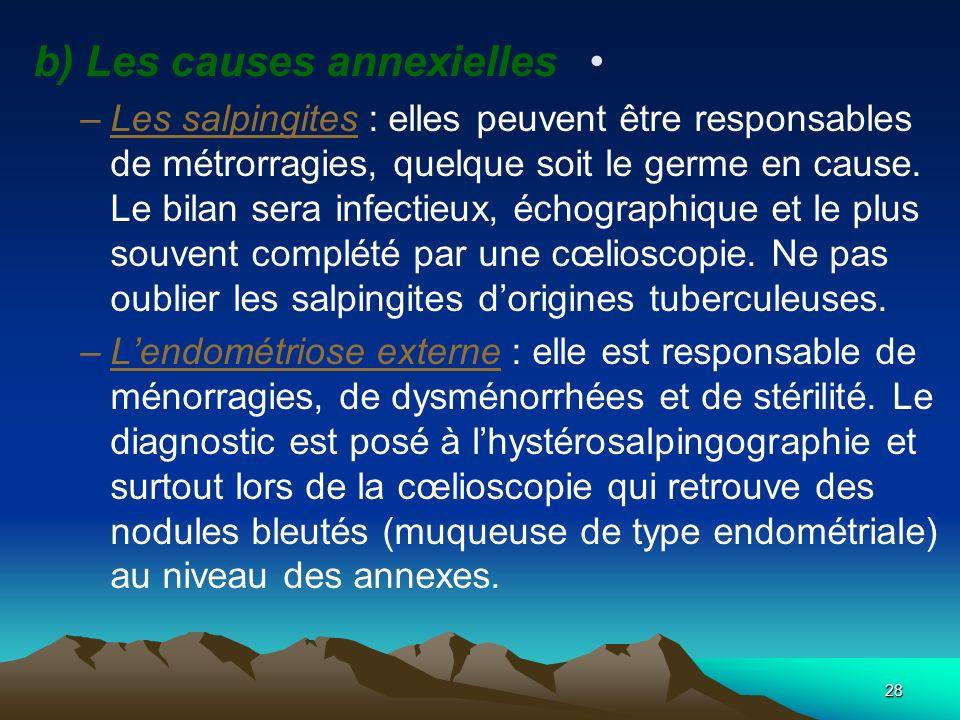 b) Les causes annexielles –Les salpingites : elles peuvent être responsables de métrorragies, quelque soit le germe en cause. Le bilan sera infectieux