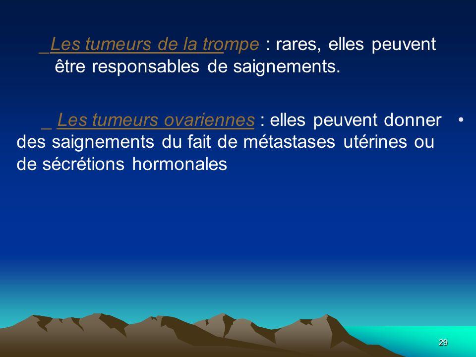 _Les tumeurs de la trompe : rares, elles peuvent être responsables de saignements. _ Les tumeurs ovariennes : elles peuvent donner des saignements du