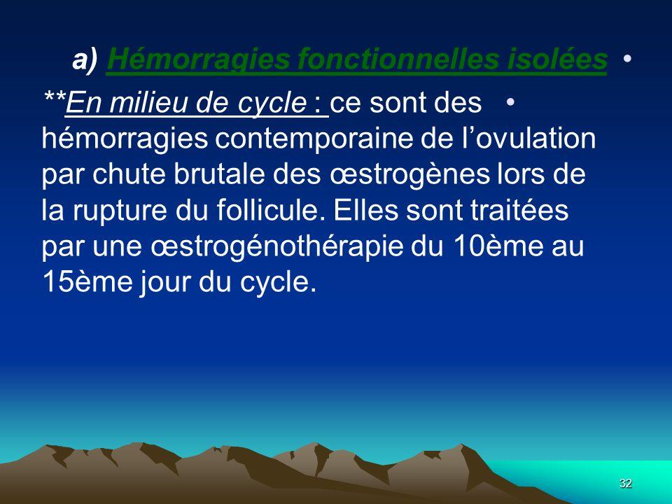 a) Hémorragies fonctionnelles isolées **En milieu de cycle : ce sont des hémorragies contemporaine de lovulation par chute brutale des œstrogènes lors
