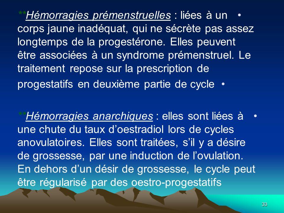 **Hémorragies prémenstruelles : liées à un corps jaune inadéquat, qui ne sécrète pas assez longtemps de la progestérone. Elles peuvent être associées